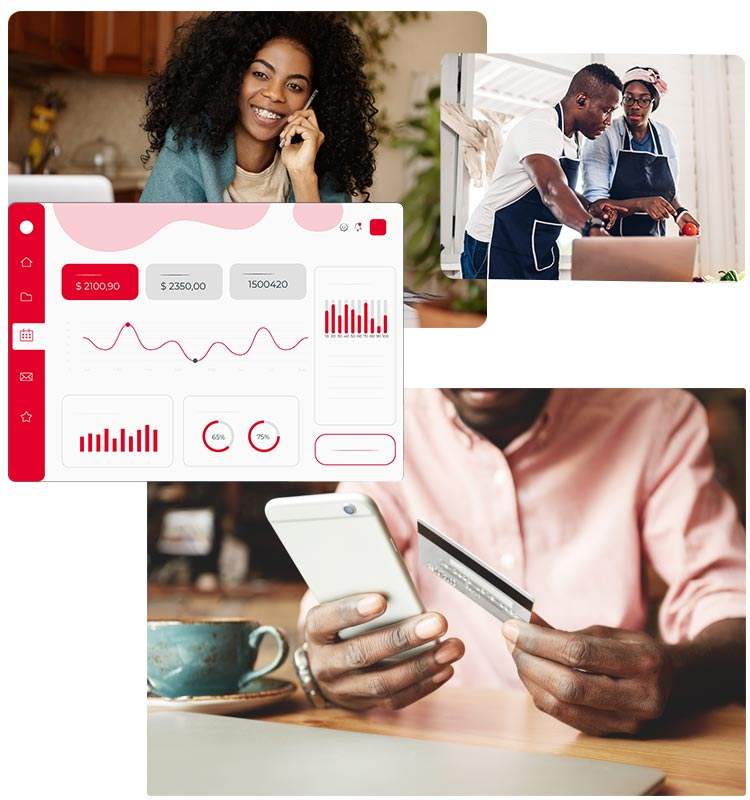 a business owner receives payments online instantly and a couple look at their payments online via Anzili