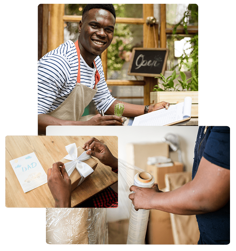 african online shop owners packing goods for online delivery via Anzili delivery network